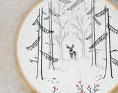 Hand Embroidery pattern • PDF • Woodland Deer • Winter • NaiveNeedle