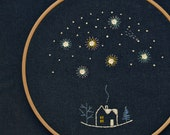 Stars Hand embroidery pattern • PDF • Beginner embroidery • Shooting star • 25 December • NaiveNeedle
