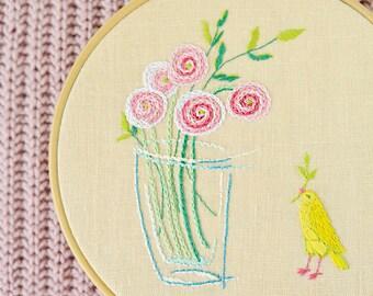 Modern Hand Embroidery Patterns • PDF • Flowers and a bird • DIY • Nursery decor girl • Spring decor • NaiveNeedle