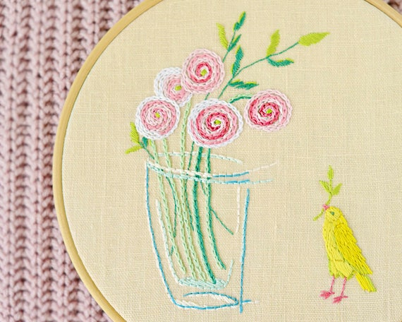 Bird Hand Embroidery Modern Hand Embroidery Patterns Etsy