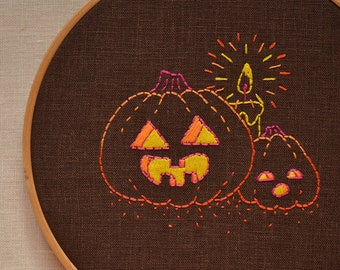 Halloween hand embroidery pattern • PDF • Simple embroidery design • Funny Pumpkin faces • NaiveNeedle
