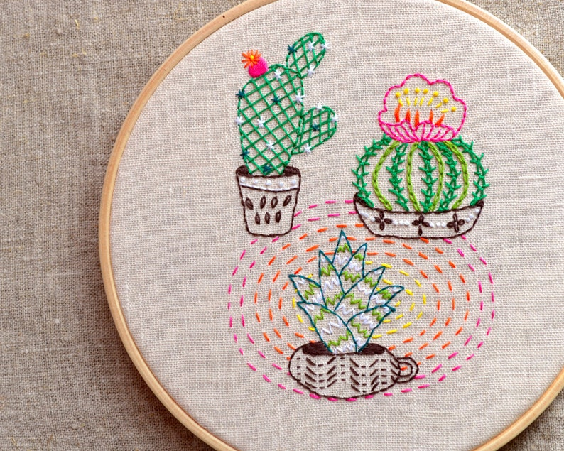 Hand embroidery Patterns  PDF  Embroidered flower  Cactus image 0