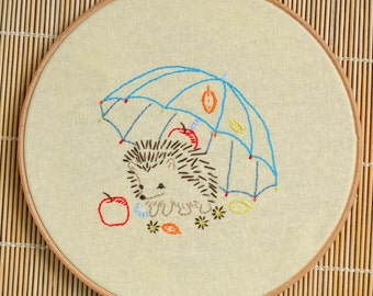 Embroidery pattern beginner level • PDF  • Hedgehog • DIY • Retro Decor • NaiveNeedle