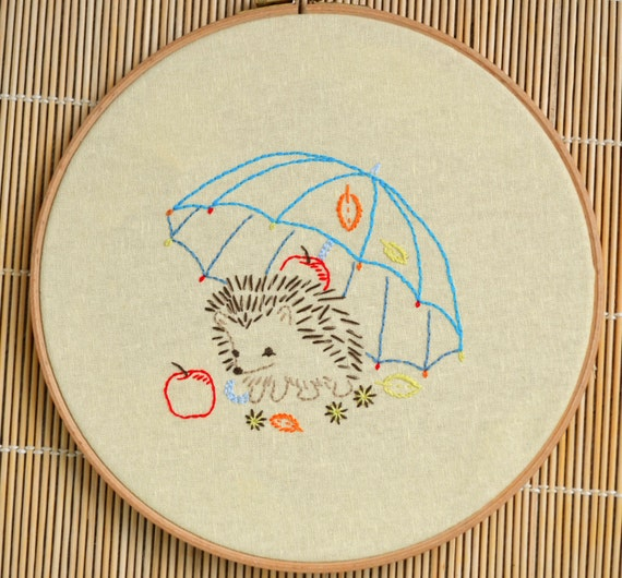 Diy Hand Embroidery Hedgehog Pdf Download Easy Embroidery Etsy