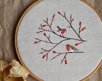 Bird embroidery pattern • Hand embroidery pattern in PDF  • Robin bird • DIY embroidery • NaiveNeedle