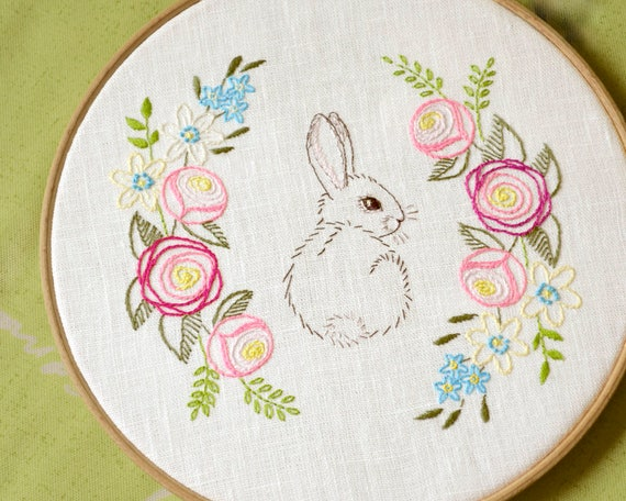 Easter Embroidery Hand Embroidery Patterns Easter Bunny Etsy