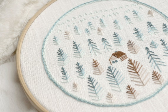 Hand Embroidery Patterns Pdf Foggy Forest Naiveneedle Etsy