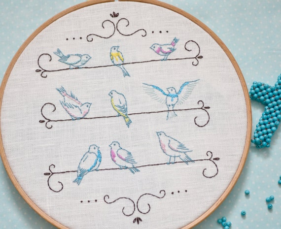 Hand Embroidery Pattern Bird Embroidery Pattern Shabby Chic Etsy