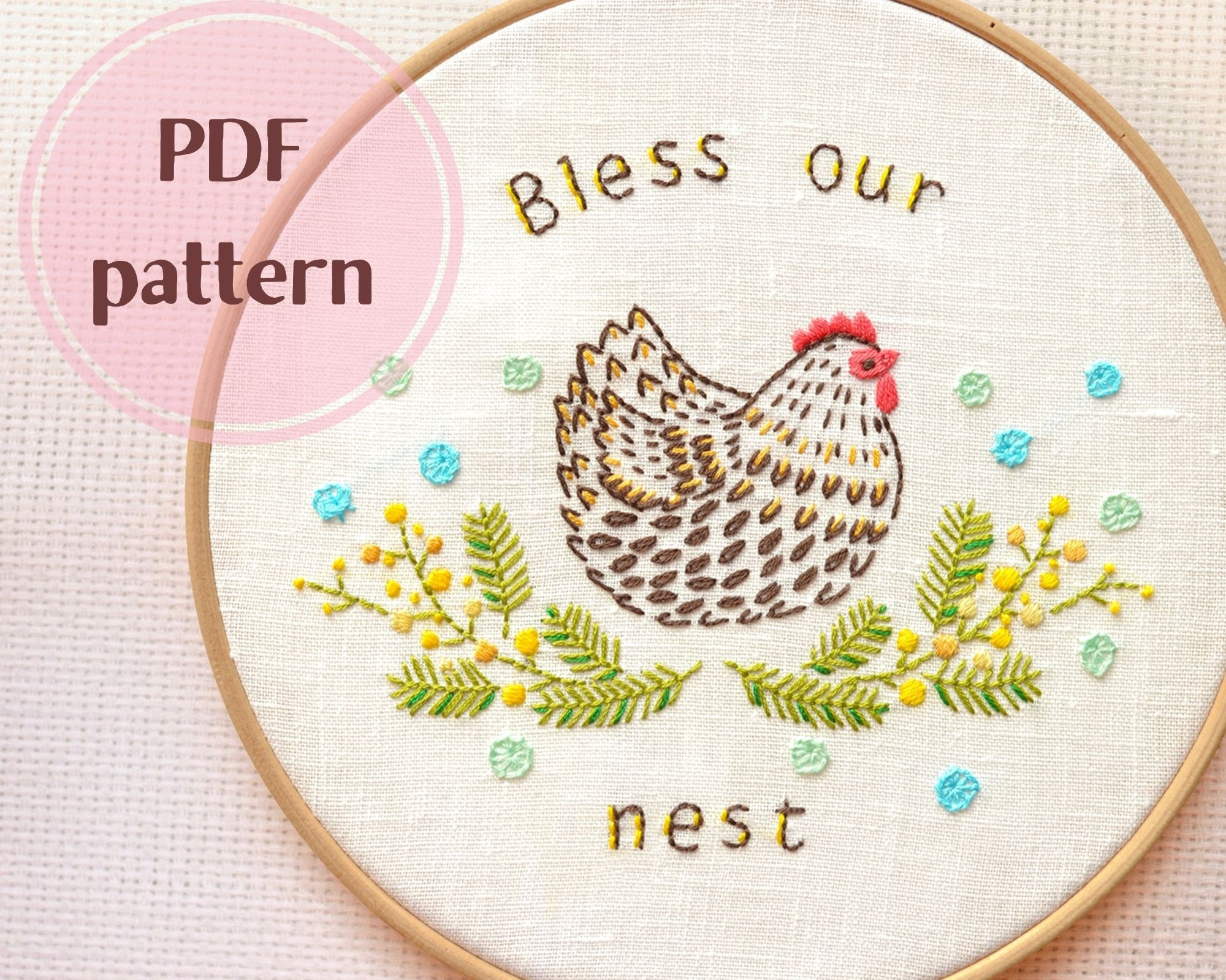 Easter Hand embroidery patterns • PDF • Spring embroidery design •  Embroidery Chicken • Bless our nest • Family simbol • NaiveNeedle