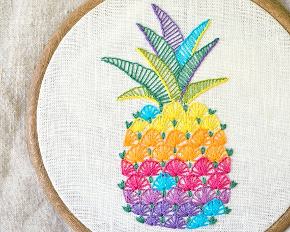 Hand Embroidery Pattern Pdf Instant Download Pineapple Etsy