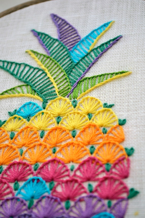 Hand Embroidery Pattern Pdf Instant Download Pineapple Embroidery