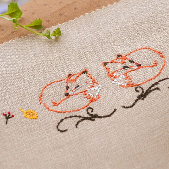 Embroidery Pattern Fox Embroidery Woodland Embroidery Hand Etsy