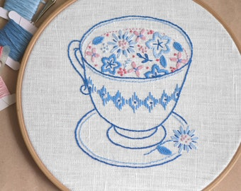 Cup of flowers • Embroidery pattern • PDF pattern • Floral embroidery • Instant Download • Embroidery designs • NaiveNeedle