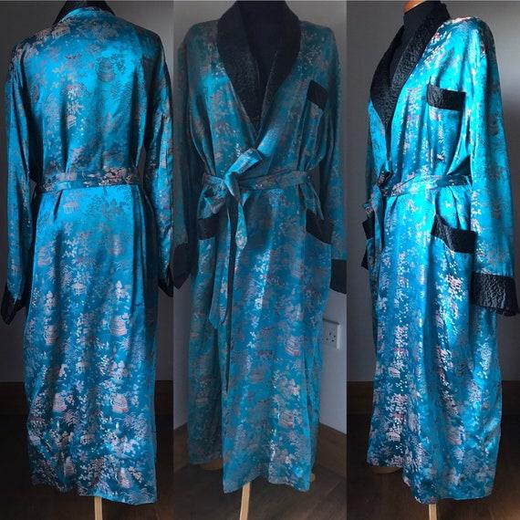 Vintage men's dressing gown satin brocade robe Ori
