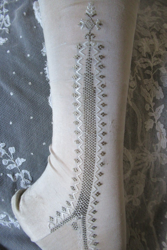 Antique silk stockings hand embroidered collectors