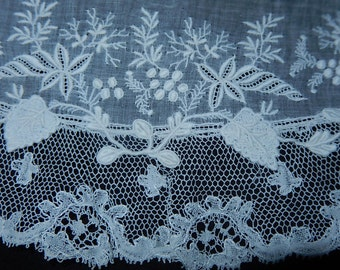 Antique early 1800's embroidered muslin & lace collar hand lace Ayrshire all hand work early Victorian grapevine raised embroidery whitework
