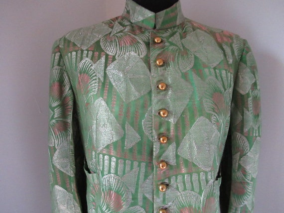 Vintage green silver 1920's silk silver lame coat