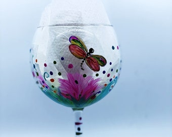DRAGONFLIES, smaller baby size, design on  Wine Glass or Water Goblet