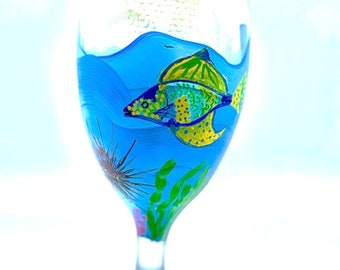 COLORFUL FISH & SHRIMP Wine Glass or Water Goblet