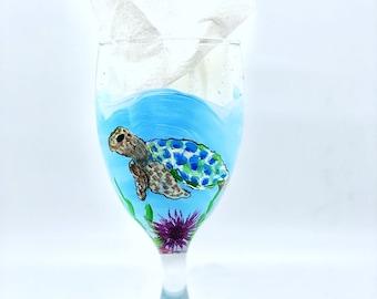 SEA TURTLE & CORAL Sea Fan Wine Glass or Water Goblet