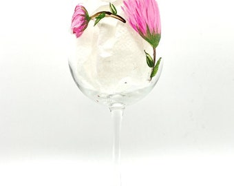 PINK FLOWERS design on  Wine Glass or Water Goblet