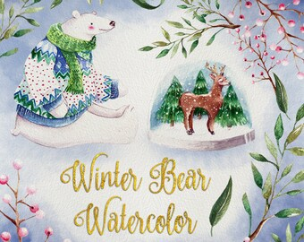 Winter Bear Watercolor Clipart, Hand Painted Watercolor Clip Art - Watercolor Winter Illustration, Snow globe graphics