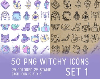 50 Witchy Icons Set 1 - Wicca Icons Clipart -  Mystic Digital - Icons for Planner Sticker, IG Highlight, scrapbook, craft, planner clipart