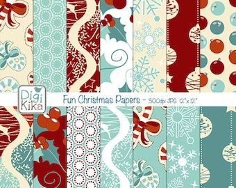 Christmas Digital Papers - Christmas Tileable/Seamless Pattern - website background, textile print, wrapping paper - Instant Download
