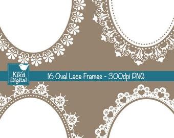 Oval Lace Frames Digital Clipart, Digital wedding frames, Scrapbooking, wedding stationery ,card design, invitations - INSTANT DOWNLOAD