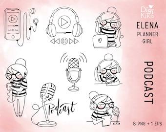 Elena Planner Girl - Podcast Clipart  -  Listen to Music Digital Stamp - Character Planner Sticker, scrapbook, craft, planner clipart