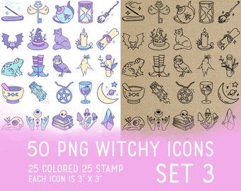 50 Witchy Icons Set 3 - Wicca Icons Clipart -  Mystic Digital - Icons for Planner Sticker, IG Highlight, scrapbook, craft, planner clipart