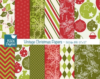 Vintage Christmas Digital Papers -  Christmas Scrapbook Papers - card design, invitations, paper crafts, web design - INSTANT DOWNLOAD