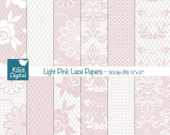 Light Pink Lace Digital Papers - Digital Scrapbook Papers - card design, invitations, background, web design - INSTANT DOWNLOAD