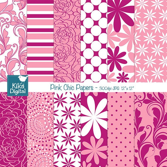 Sale Pink Digital Papers Pink Chic Digital Scrapbook Papers Etsy