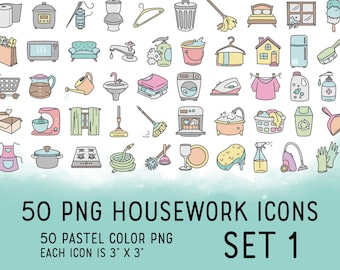 50 Housework Color Icons SET 1 - Pastel Icons Clipart - Cleaning digital sticker, Chores Icons, planner, scrapbook, craft, planner clipart