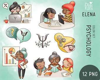 Elena Planner Girl - Psychology Clipart COLOR - Reports Digital Stamp - Character Planner Sticker, scrapbook, craft, planner clipart