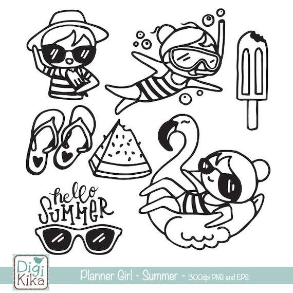 Planner Girl Summer Stamp Clipart Planner Stickers