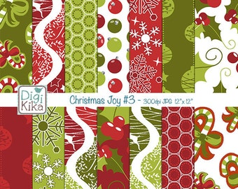 Christmas Digital Papers - Red and Green Christmas Seamless Pattern - background, textile print, wrapping paper - Instant Do