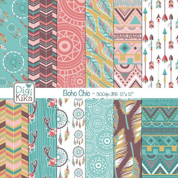 Boho Chic Digital Papers Tribal Roses Scrapbook Paper Boho