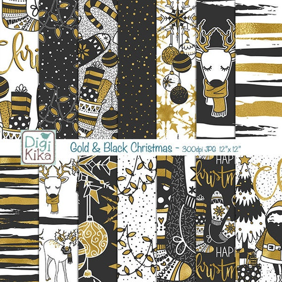 Christmas Invitation Background Gold.Gold And Black Christmas Digital Papers Foil Christmas Digital Scrapbook Papers Card Design Invitations Background Instant Download