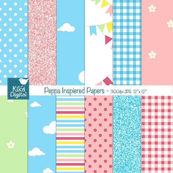 Peppa Pig Insprired Digital Papers Chicken Digital Scrapbook Papers Card Design Invitations Background Instant Download