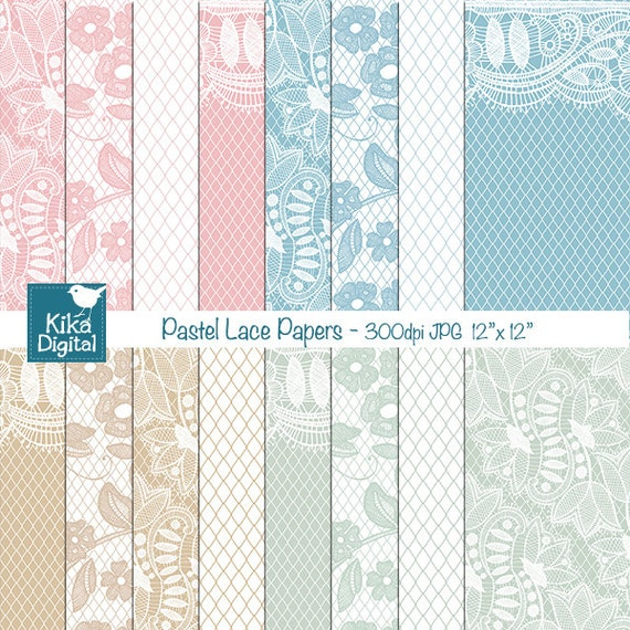 pastel lace digital papers digital scrapbooking papers etsy