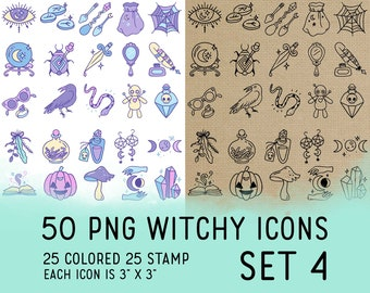 50 Witchy Icons Set 4 - Wicca Icons Clipart -  Mystic Digital - Icons for Planner Sticker, IG Highlight, scrapbook, craft, planner clipart