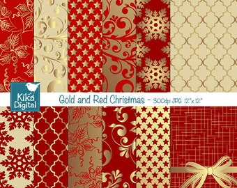 Gold and Red Christmas Digital Papers - Scrapbooking Papers - card design, invitations, paper crafts, web design - INSTANT DOWNLOAD
