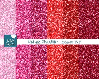 Red and Pink Glitter Digital Papers - Digital Scrapbookig Papers - card design, invitations, background, paper crafts - INSTANT DOWNLOAD