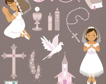 Girl First Communion Clip Art - Communion Clipart, Catholic Vector Graphic - INSTANT DOWNLOAD