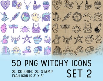 50 Witchy Icons Set 2 - Wicca Icons Clipart -  Mystic Digital - Icons for Planner Sticker, IG Highlight, scrapbook, craft, planner clipart