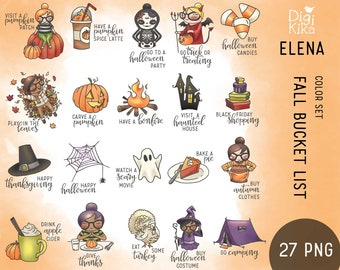 Elena Planner Girl - Fall Bucket List Clipart - Autumn COLOR - Character Planner Stickers, scrapbook, invitation, crafts, planner clipart