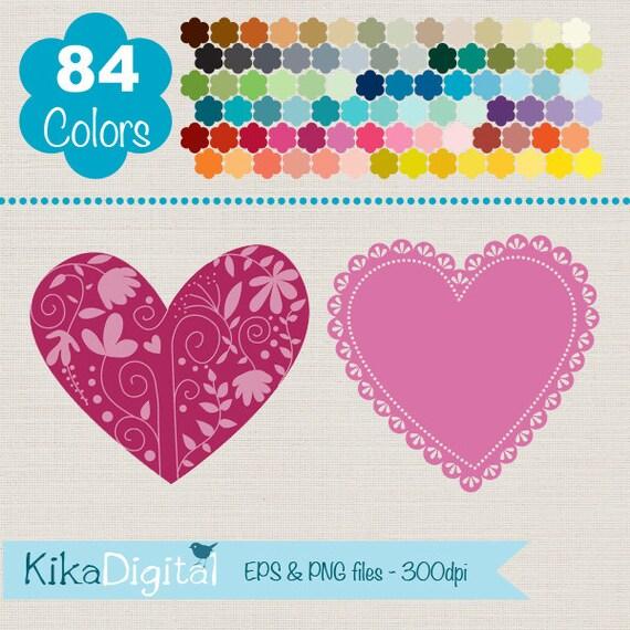 Lace Hearts Clip Art Rainbow Heart Frames Colorful Heart
