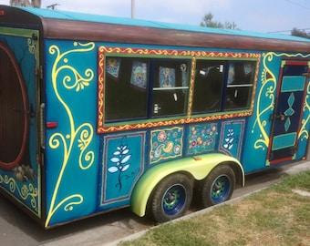 Custom painted gypsy wagon. Gypsy caravan. Custom painted trailer. ARTWORK ONLY.